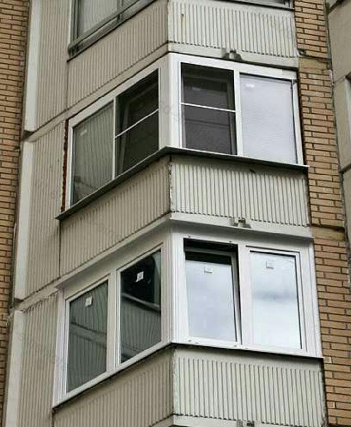 Застекление балкона дом п 46. - готовые балконы - каталог ст.